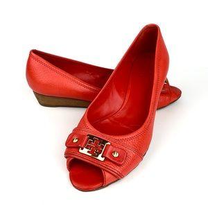 Tory Burch Peep Toe Leather Wedge Shoe sz 9 1/2